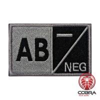 AB- NEG Bloedgroep Zwart Grijs Geborduurde Militaire Patch met Velcro