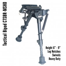 Tactical Foldable Bipod Adjustable in Height 6 – 9 inch with Leg Notches and Swivels | CTSBR-MSHD