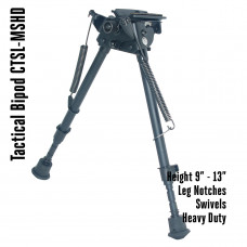 Tactical Foldable Bipod Adjustable in Height 9 – 13 inch with leg notches and swivels  | CTSL-MSHD