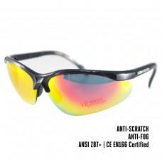 Dampvrije en krasbestendige schietbril | Veiligheidsbril voor op het werk, Skims of tijdens het schieten | Rood - gele glazen