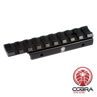 Tactical Picatinny  / Weaver Dovetail Riser | 10mm verhoging - 100mm lang | Antraciet kleur