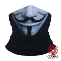 Bandana Anonymous masker zwart | Stretch | 140gsm anti-UV Polyester | 25 x 50cm