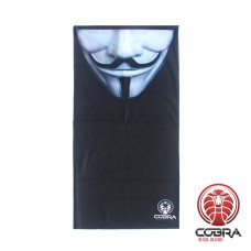 Bandana Anonymous masker zwart | Stretch | 140gsm anti-UV Polyester | 25 x 50cm