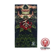 Bandana Skull Green | Stretch | 140gsm anti-UV Polyester | 25 x 50cm