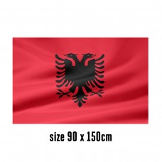 Flag of Albania - 90 x 150 cm | 2 side hooks | 200D Durable Polyester