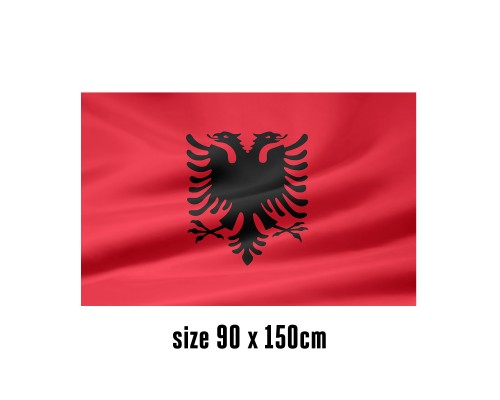 Flag of Albania - 90 x 150 cm | 2 side hooks | 200D Durable Polyester