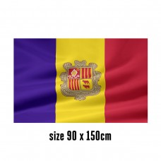 Flag of Andorra - 90 x 150 cm | 2 side hooks | 200D Durable Polyester