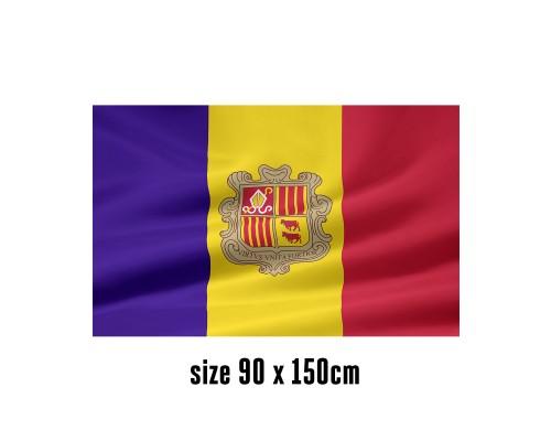 Flag of Andorra - 90 x 150 cm | 2 side hooks | 200D Durable Polyester