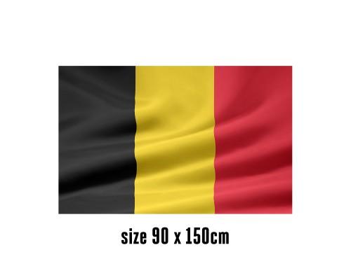 Vlag België - 90 x 150 cm   2 zijhaken   200D Durable Polyester