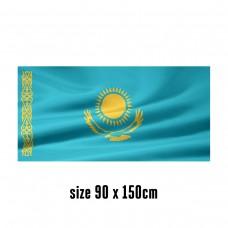 Flag of Kazakhstan - 90 x 150 cm   2 side hooks   200D Durable Polyester