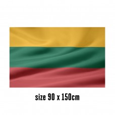 Flag of Lithuania - 90 x 150 cm   2 side hooks   200D Durable Polyester