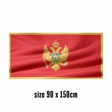 Flag of Montenegro - 90 x 150 cm   2 side hooks   200D Durable Polyester