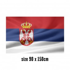Flag of Serbia - 90 x 150 cm | 2 side hooks | 200D Durable Polyester