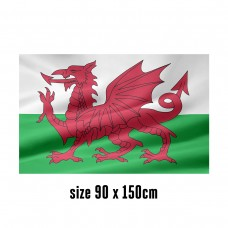 Flag of Wales - 90 x 150 cm | 2 side hooks | 200D Durable Polyester