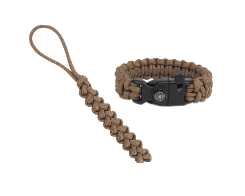 """Paracord Fire-starting tool """"Flaming Lizzard"""", Coyote brown"""