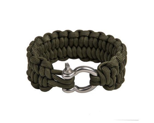 "Paracord Quick Unravel bracelet ""Loops"", Army green"