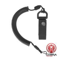 Spiral lanyard with a belt attachment, Zwart