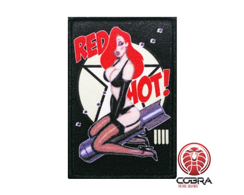 Red Hot Sexy Bomber Pin up Girl Nose Art Morale printed Geborduurde militaire Patch met klittenband
