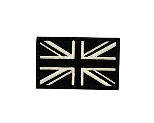 Geborduurde patch vlag van het Verenigd Koninkrijk Union Jack Zwart/wit met klittenband