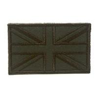 Geborduurde patch vlag van het Verenigd Koninkrijk Union Jack groen met klittenband