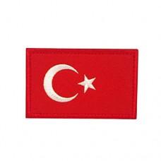 Geborduurde patch vlag Turkije met klittenband