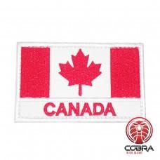 Geborduurde patch vlag van Canada met text Canada met klittenband