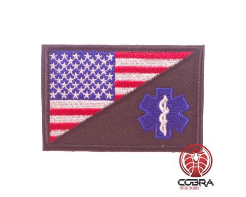 USA Amerikaanse vlag met medical kruis geborduurde militaire patch met klittenband