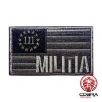 III Militia USA flag Brons Geborduurde motiverende militaire Patch met klittenband