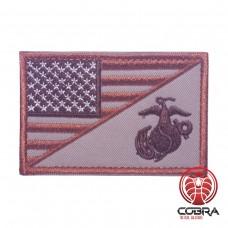USA Amerikaanse vlag met Navy Seals bruin geborduurde militaire patch met klittenband