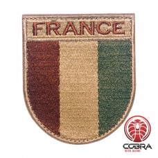 Franse vlag bruin geborduurde militaire patch met klittenband