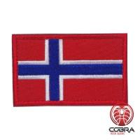 Vlag Noorwegen geborduurde patch   Velcro   Military Airsoft