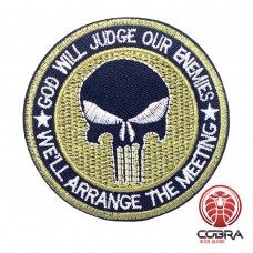 God will judge our enemies - we'll arrange the meeting geborduurde groene patch | Strijkpatches | Military Airsoft