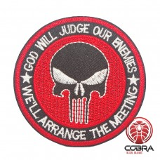 God will judge our enemies - we'll arrange the meeting geborduurde rode patch | Strijkpatches | Military Airsoft