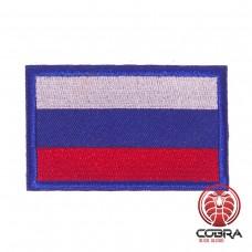 Vlag Rusland met blauwe rand geborduurde patch   Strijkpatches   Military Airsoft