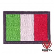 Vlag Italië met zwarte rand geborduurde patch | Strijkpatches | Military Airsoft