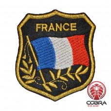 Vlag Franrijk geborduurde gouden patch | Strijkpatches | Military Airsoft