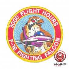 Belgian Air Force 3000 Flight Hours F-16 Fighting Falcon aviation geborduurde patch | Strijkpatches | Military Airsoft