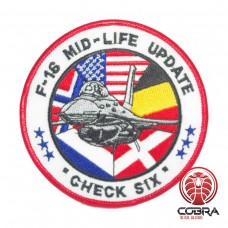 Belgian Air Force F-16 MID-LIFE UPDATE Check Six aviation geborduurde patch | Strijkpatches | Military Airsoft