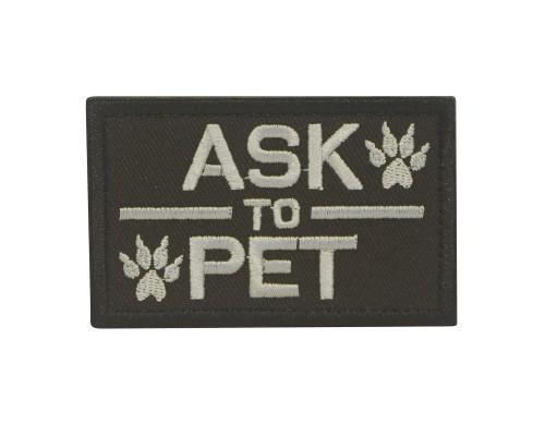 Militaire patch Black Ask to Pet K9 Dog met klittenband