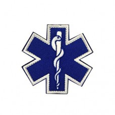 Militaire patch blauw Molon Labe Star of Life met velcro