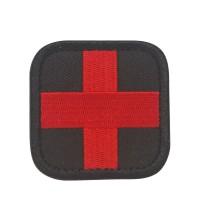 Rood kruis medische Geborduurde patch met zwarte achtergrond met klittenband