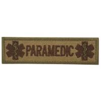 Paramedic Cross of Life Geborduurde Militaire Bruine Patch met klittenband