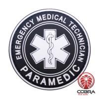 Paramedic Emergency Medical Technician black PVC Patch met klittenband