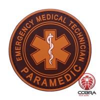 Paramedic Emergency Medical Technician brown PVC Patch met klittenband