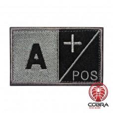 A+ POS Bloedgroep Zwart Grijs Geborduurde Militaire Patch met Velcro