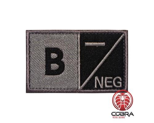 B- NEG Bloedgroep Zwart Grijs Geborduurde Militaire Patch met Velcro