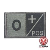 O+ POS Bloedgroep Zwart Grijs Geborduurde Militaire Patch met Velcro