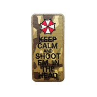 Keep Calm & Shoot Em In The Head Resident Evil Geborduurde camo patch met klittenband