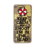 Keep Calm & Shoot Em In The Head Resident Evil Geborduurde Digital camo patch met klittenband