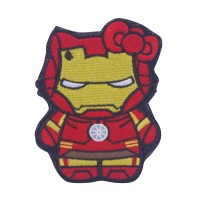 Iron Men Kitty Superhero and Villains Geborduurde Cosplay Patch met klittenband